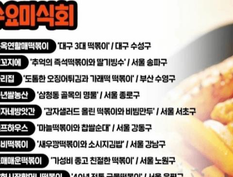 전국 떡볶이 맛집 list