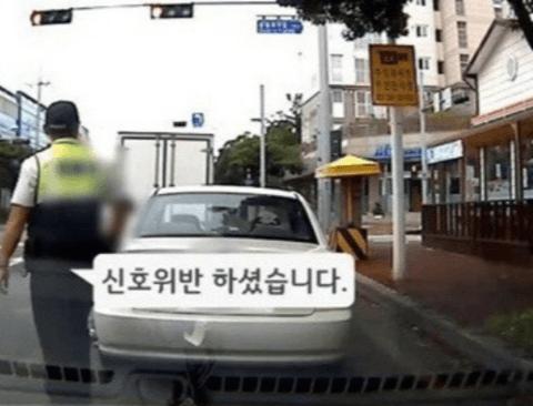 경찰차 앞에서 대놓고 신호위반한 사연