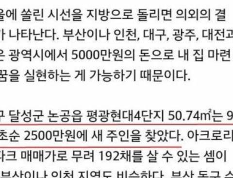 논란중인 대구의 2500만원 아파트