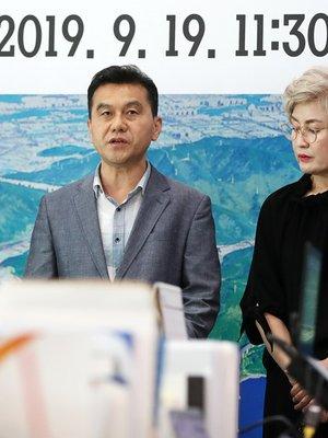"""[포토] 스타필드 반대측 """"공론화 중단하라"""""""
