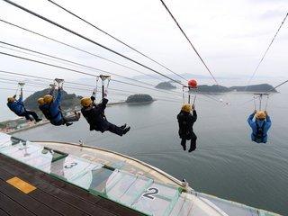 진해해양공원 '창원 짚트랙' 개장 한달, 7천여명 찾았다